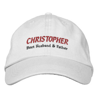 BEST HUSBAND and FATHER White Hat RED BLACK C01 Embroidered Baseball Cap