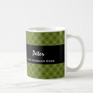 Best Husband Ever GREEN Pattern Custom Name V09 Classic White Coffee Mug