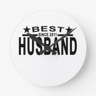 Best HUSBAND Since 2011 Tshirt.png Round Clock