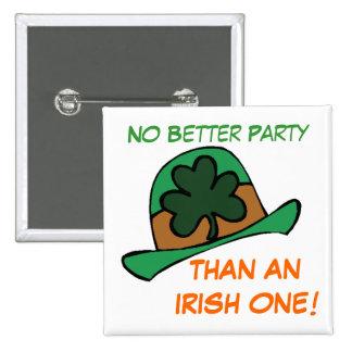 Best Irish Party Shamrock Hat St. Patrick's Day Pinback Button