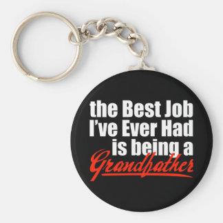 Best Job is Being a Grandfather Basic Round Button Keychain