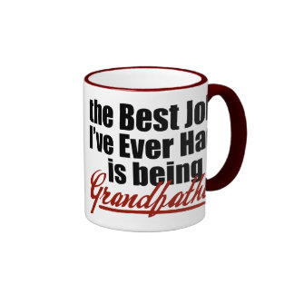 Best Job is Being a Grandfather Ringer Coffee Mug