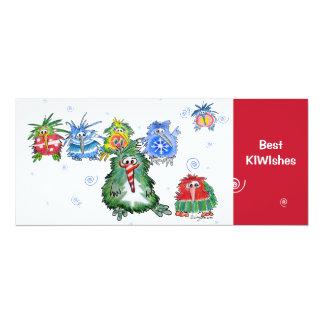 "Best KIWIshes Kiwi Christmas Cartoon Card 4"" X 9.25"" Invitation Card"