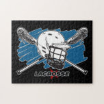 """Best Lacrosse Jigsaw Puzzle<br><div class=""""desc"""">Bold lacrosse design with lacrosse helmet and crossed lacrosse sticks with blue background. Lower LACROSSE letting with red x cross. Great lacrosse gift for lacrosse players and fans!</div>"""
