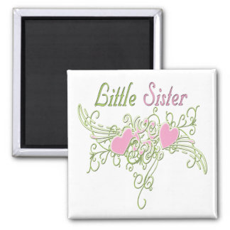 Best Little Sister Swirling Hearts 2 Inch Square Magnet
