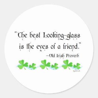 Best looking glass classic round sticker