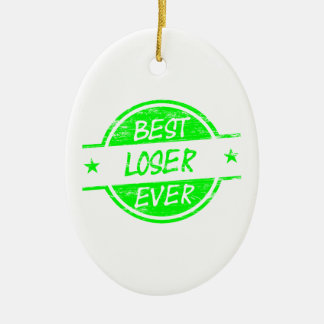 Best Loser Ever Green Double-Sided Oval Ceramic Christmas Ornament