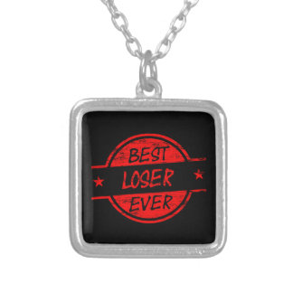 Best Loser Ever Red Square Pendant Necklace