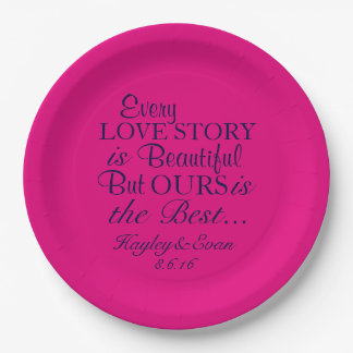 Best Love Story Paper Plates Pink and Navy