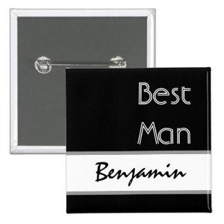 Best Man - Black and White Modern Wedding Button