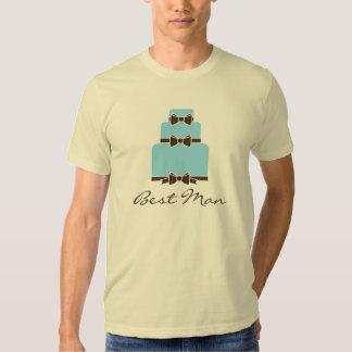 Best Man Blue and Brown Wedding Cake Tee Shirt