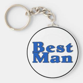 Best Man (Blue) Basic Round Button Keychain