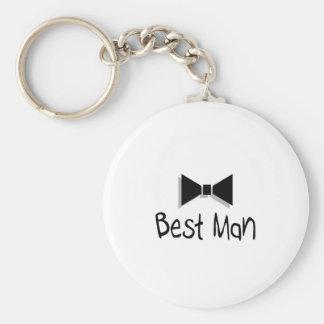 Best Man Bow Tie Basic Round Button Keychain