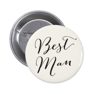 Best Man Calligraphy Wedding Bridal Party Button