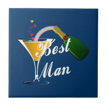 Best Man Champagne Toast Ceramic Tile