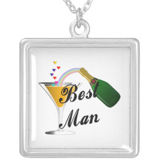 Best Man Champagne Toast Silver Plated Necklace