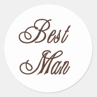 Best Man Classy Browns Classic Round Sticker