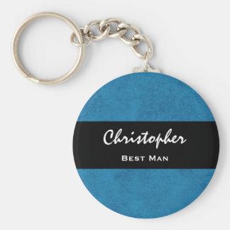BEST MAN Custom Name Cobalt Blue Grunge Damask Basic Round Button Keychain