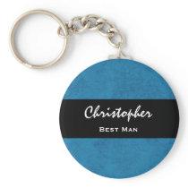 BEST MAN Custom Name Cobalt Blue Grunge Damask Keychain