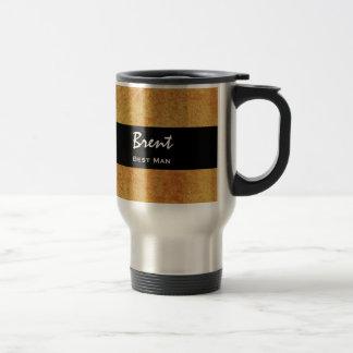 BEST MAN Custom Name Gold Grunge Damask Travel Mug