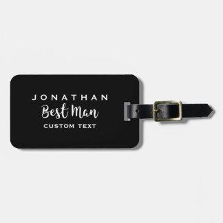 Best Man Custom Wedding Modern Monogram Bag Tag