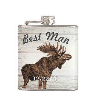 Best Man Flask Vintage Moose