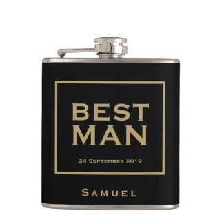 Best Man Gold typography/Name/Stylish Gift Flask