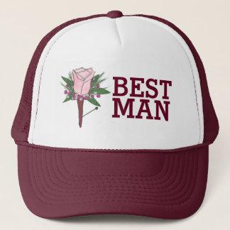 Best Man Groomsmen Wedding Boutonniere Rose Hat