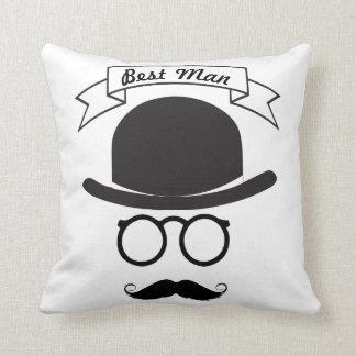 Best Man Hipster Glasses Hat Handlebar Mustache Throw Pillow