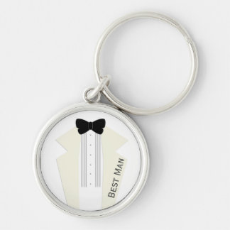 Best Man Ivory Tuxedo Black Tie Silver Keychain