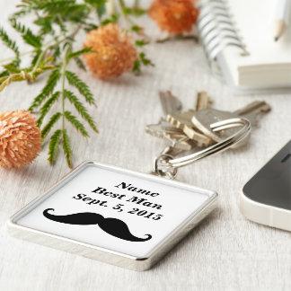 Best Man Mustache Premium Square Keychain