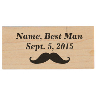Best Man Mustache, Top Hat & Suit USB Wooden Drive Wood USB 2.0 Flash Drive