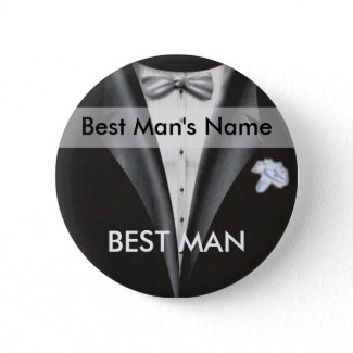Best Man Name Tag Button button