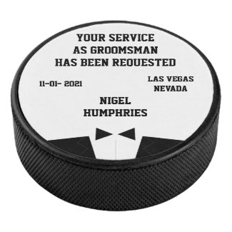 Best Man or Groomsman Hockey Puck Invite
