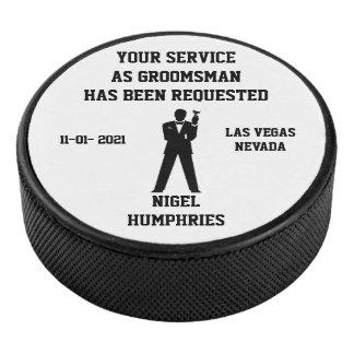 Best Man or Groomsman Hockey Puck Invite