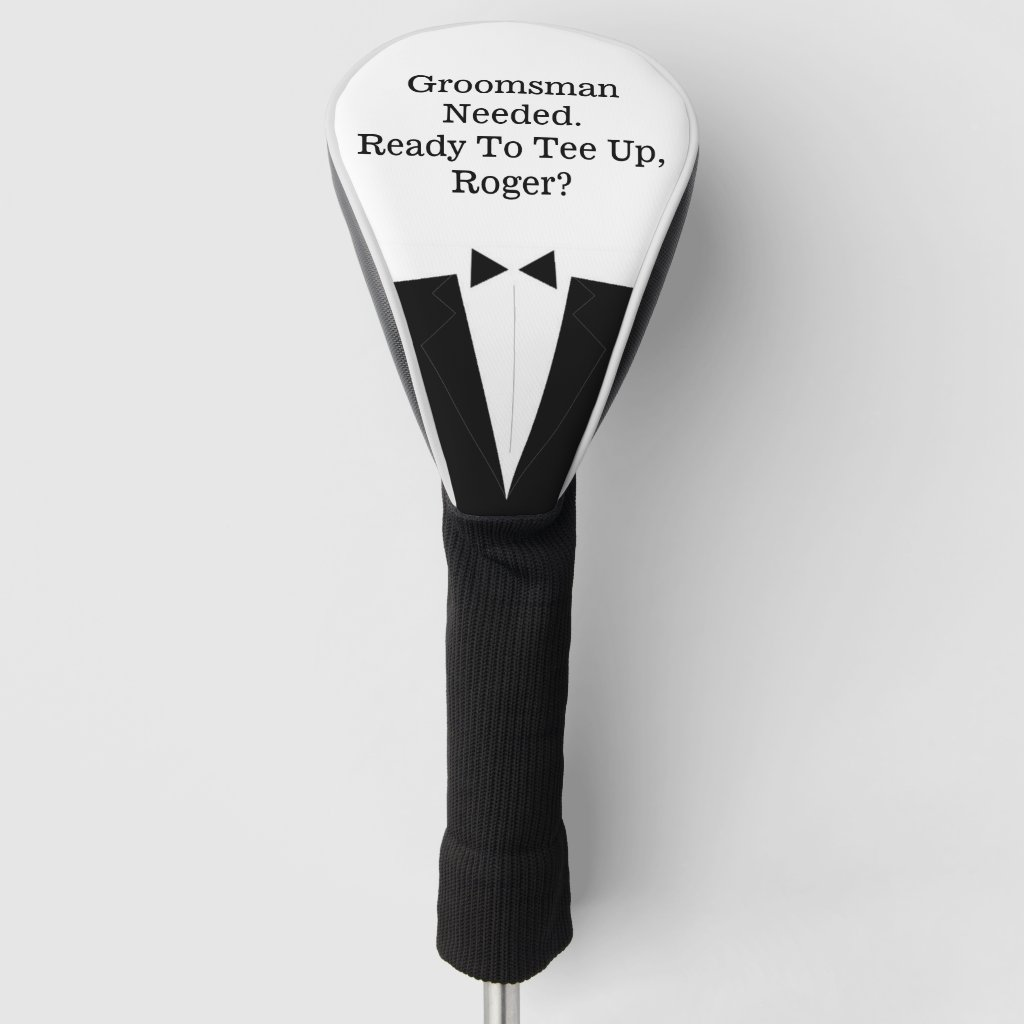 Best Man or Groomsman Invitation Golf Driver Cover