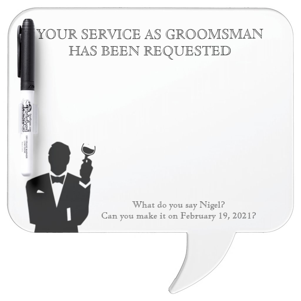 Best Man or Groomsman Whiteboard Invite