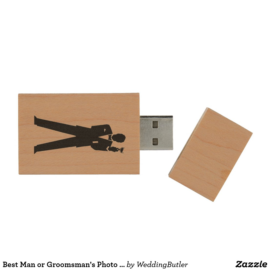 Best Man or Groomsman's Photo Storage Wood USB Flash Drive