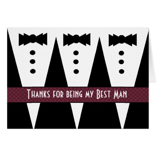 BEST MAN Thank You - Three Tuxedos - Customizable Card