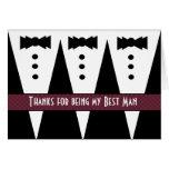 BEST MAN Thank You - Three Tuxedos - Customizable Greeting Card