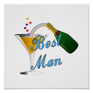Best Man Toast Blue Poster