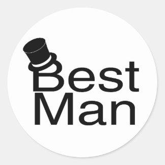 Best Man Top Hat Classic Round Sticker