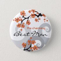 BEST MAN Tropical Flower Swirls Wedding Button