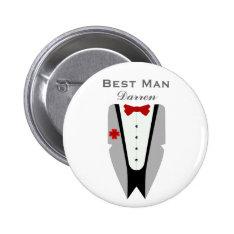 Best Man - Tuxedo Dinner Jacket Wedding Pin at Zazzle