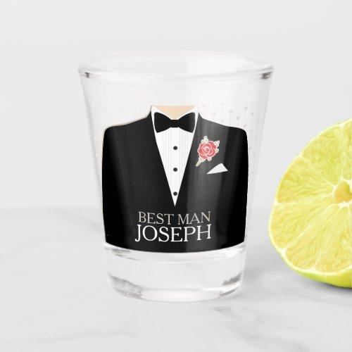 Best man tuxedo red rose button custom name shot glass