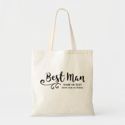 Best Man Wedding | Cool Modern Script Typography Tote Bag