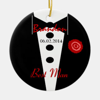 Best Man Wedding Favor Custom Name Tux Ceramic Ornament