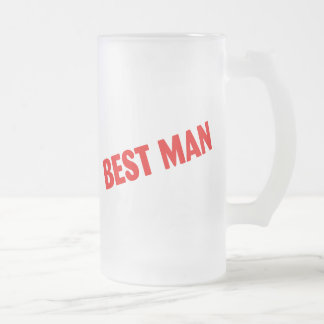 Best Man Wedding Red 16 Oz Frosted Glass Beer Mug