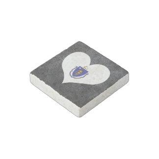 Best Massachusettsan Heart flag Stone Magnet