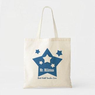 Best MATH TEACHER Blue Stars Custom W5 Tote Bag